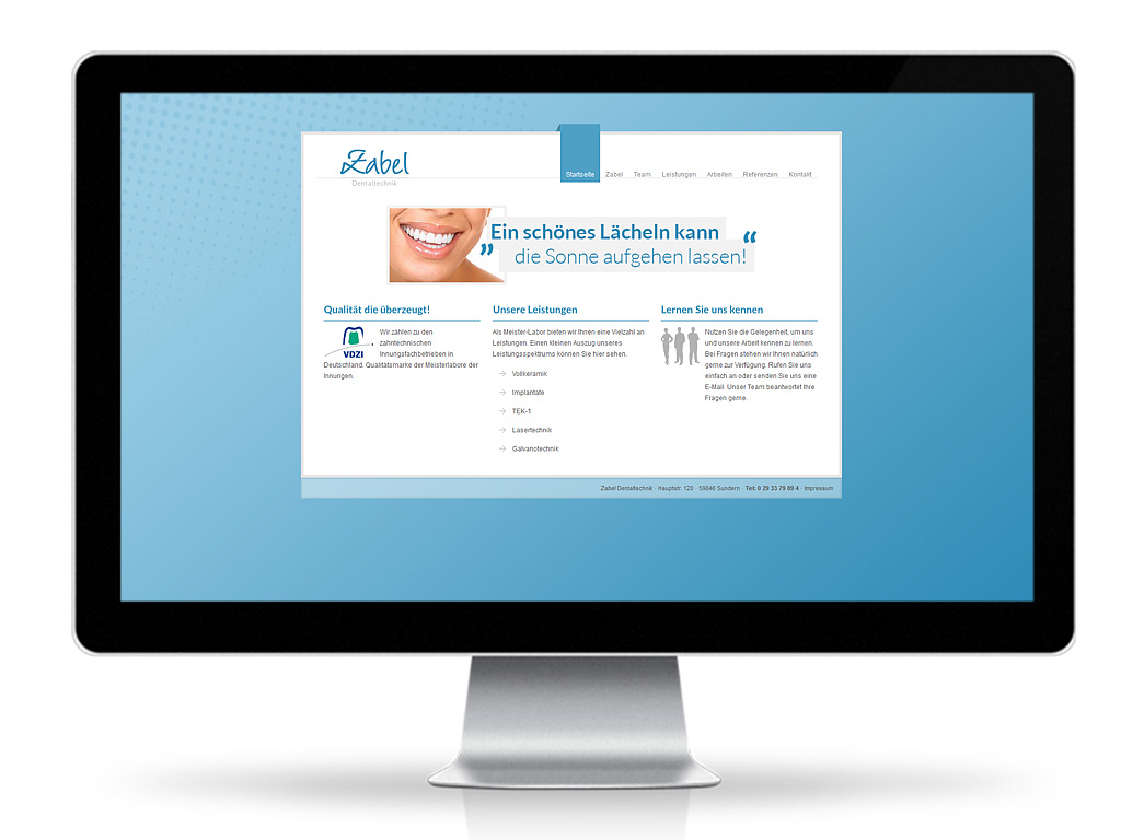 Zabel Dentaltechnik - Webpräsenz